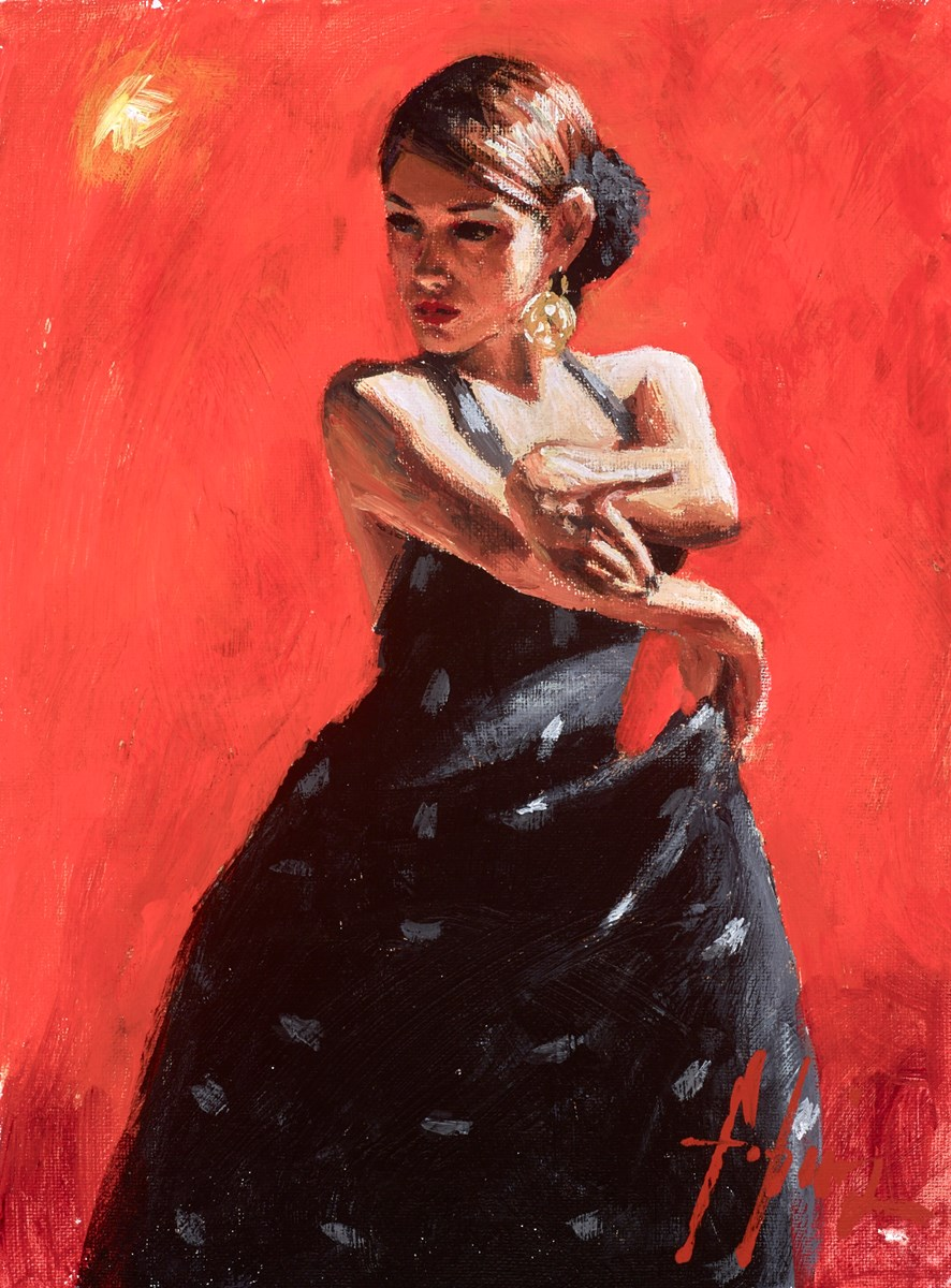 Study for Black Flower II by fabian perez -  sized 9x12 inches. Available from Whitewall Galleries